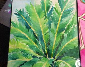 palm leaf watercolor