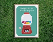 Greeting Cards | Happy You Wound Up Together Engagement Card Wedding Congratulations Silly Quirky Relationship Gum Ball Machine Cute Funny