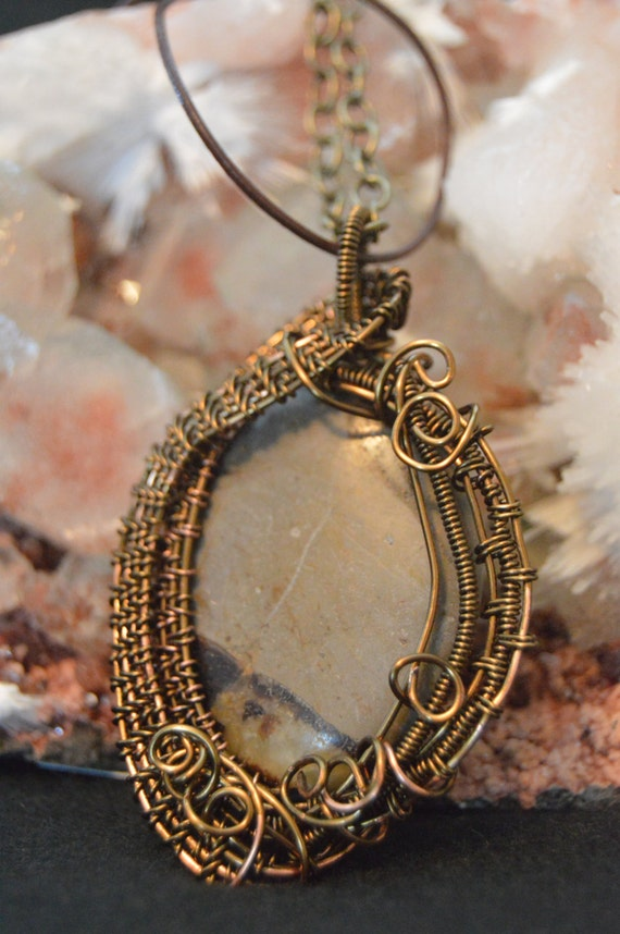 necklace pendant septarian copper wire weaved