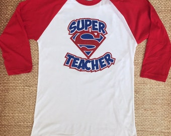 Super Teacher Glitter Tshirt Baseball Raglan