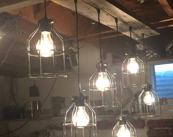 Industrial cage pendent light barn wood chandelier