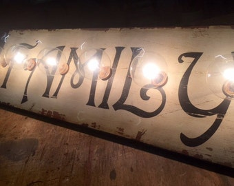 FAMILY wall / vanity lighted sign