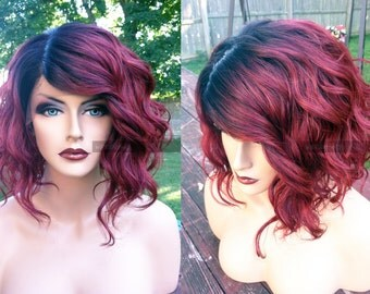Human Hair BLEND Short Bob Wine Red Swiss Lace Front & PART Wavy Wig w/ Dark Root