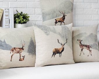 Deers Throw Pillow, Decorative Pillow Cover, Cushion Cover, Bedroom Decor, Sofa Pillow Case, Accent Pillow Living Room