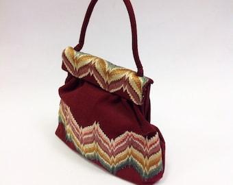 Vintage 50s COMOLLI Italian handmade embroidered handbag