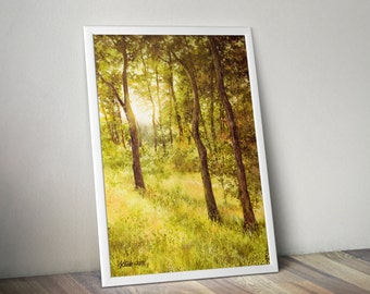 watercolor trees print - watercolor landscape print - nature painting - sunny forest painting - yellow trees painting - yellow watercolor