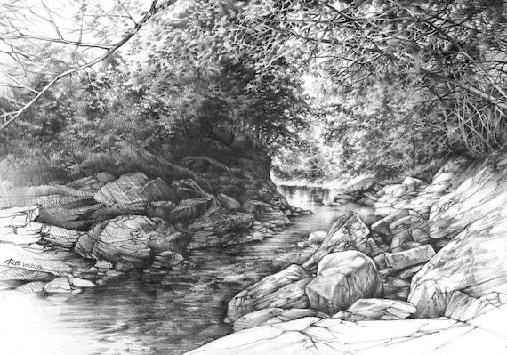 Paysage de crayon ORIGINAL par Katarzyna Kmiecik / crayon croquis, dessin original de l'arbre, la rivière des roches, paysage réaliste, arbres, art paisible