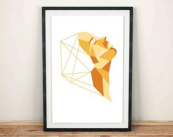 Geometric Profile Face Art Print