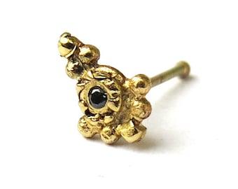 Black diamond nose stud\ 14k yellow gold\ handmade\ 22 gauge\ 0.6 mm\ indian tikka nose jewelry\ small nose stud\ choose your stud shape