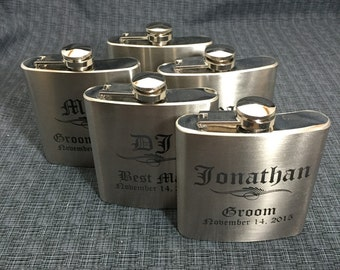 Set of 5 Laser Engraved Stainless Steel Flask - 10 Designs - 20 Fonts - Groomsman Gift - Bridesmaid Gift - Wedding Favor -  Dad or Grad Gift