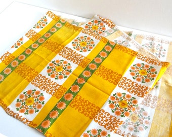 Vintage 70s Yellow Table Runner or Tablecloth with Orange and Green Flowers Decor