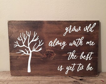 Family Fingerprint Wood Sign | Grow Old With Me The Best Is Yet To Be Wood Sign | Home Décor