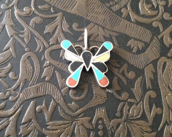 Zuni Sterling Butterfly Charm Pendant // Sterling Inlay Butterfly