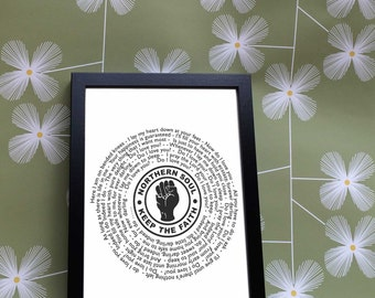 Northern Soul Vinyl Record FRAMED Print - Keep the Faith - ANY SONG - vintage, retro gift - 7' single