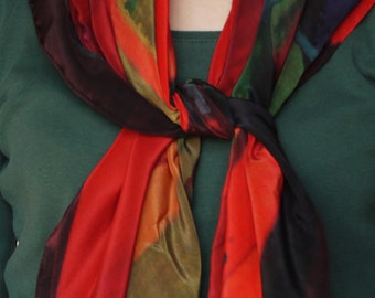 red green silk scarf/ large square scarf / unusual silk scarf / designer silk scarf/ head scarf / luxurious silk scarf