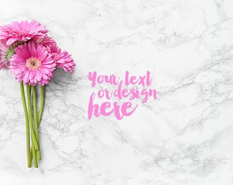 Desktop styled stock photography / Instant download / Pink flowers on marble background / #0653
