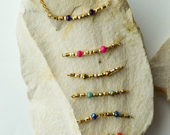 Dainty Faceted Crystal Bicone Round Metallic Beads on 18K Gold filled Bracelets /Gold bracelets/colorful metallic beads/Modern Gemstone