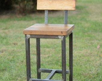 Wood and Steel Barstool - Reclaimed Lumber