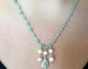 Aqua Jade, Pearl and Sterling Silver Necklace