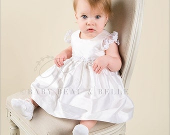 Christening Dress, Leila White Silk Dress