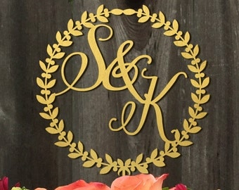 Personalized Initials Wedding Cake Topper - Wreath - Cake Decor - Wedding Decor-Wedding Cake Topper - Custom Cake Topper