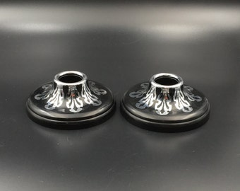 Harvite Candlestick Holders, Vintage Harvite Candlestick Holders, Silver Overlay, Black Gothic, Dramatic Candlestick Holders, Art Deco 30's