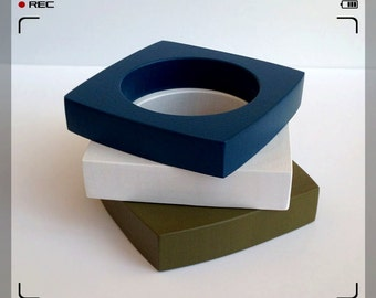 Geometric Square Bangles - Green, White and Blue