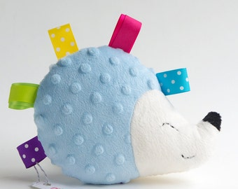 Stuffed animal hedgehog in light blue with sensory tags - Plushie hedgehog - Handmade super soft plush toy - Made to order