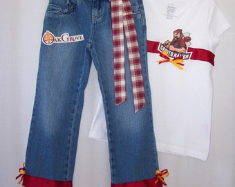 Custom boutique Any school mascot team you choose, jeans set or jumper all sizes available