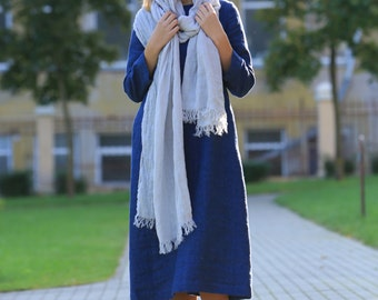 Linen Scarf, Natural Large Flax Scarf, Pure Linen Scarf, linen shawl / soft fringe