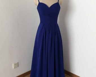 Spaghetti Straps Royal Blue Chiffon Long Bridesmaid Dress