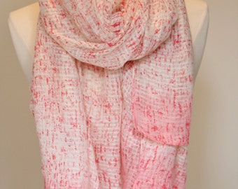 New Soft Silk Light Weight Scarf Pink and White Color