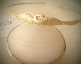 Gold Swan Headband Swan Headband Bird Headpiece Bird Crown Hair Jewelry Hair Accessories