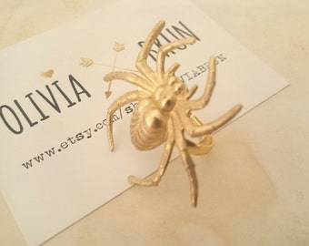 Large Spider Adjustable Ring Gold Spider Ring Large Ring Halloween Accessories