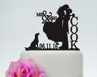 Mr Mrs Cake TopperBride And Groom SilhouetteWedding Topper Personalized