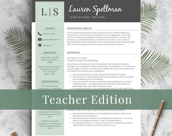 Teacher Resume Template for Word Pages 13 Page Resume for