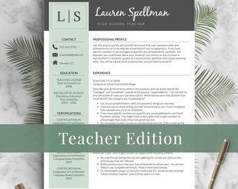 Educator Resume Template For Word And Pages / Principal Resume, Teacher CV, Teacher  Resume  Professional Teacher Resume Template