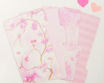 Set of 4 Pink Floral PERSONAL Planner Dividers