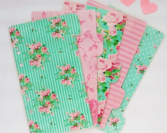 Set of 5 Mint and Pink Shabby Chic Floral Personal / A5 / Pocket Planner Dividers