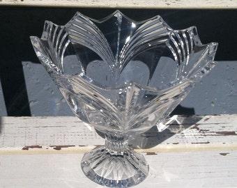 Vintage crystal compote bowl