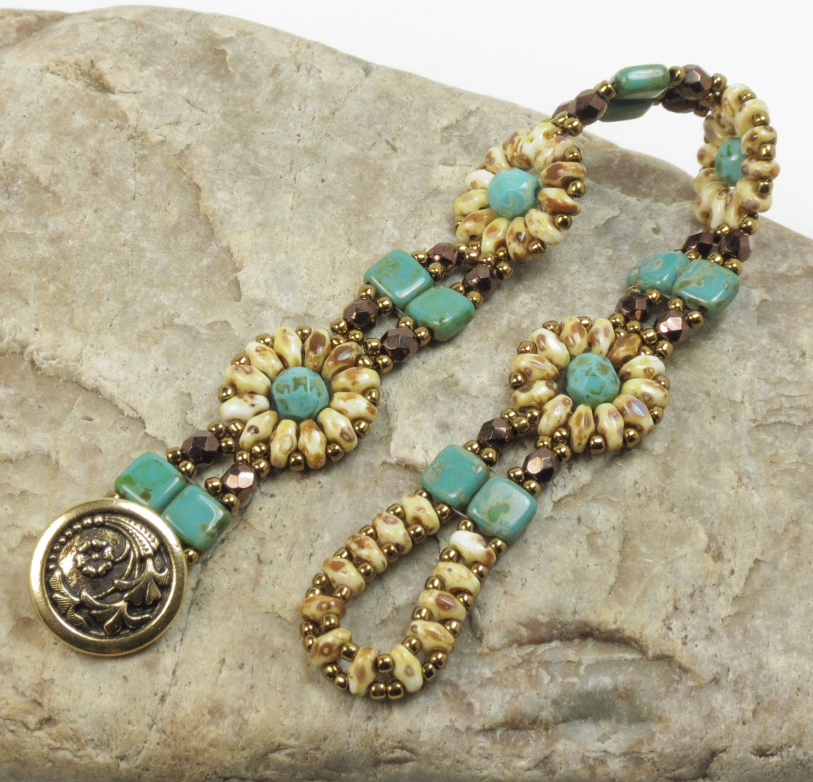 Superduo Czechmate Tile Flower Bracelet Dark Turquoise