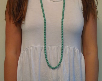 Teal/Turquoise fashion/statement long beaded infinity/endless necklace