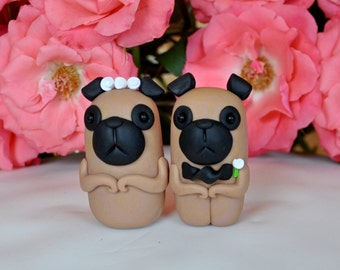 Pug dogs wedding cake toppers