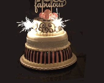 40 & Fabulous Birthday Cake Topper, 40th Birthday Cake Topper, Forty Cake Topper, Gold Cake Topper, 20th, 30th, 50th, 60th, 70th, 80th