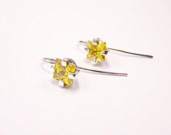 Zirconia earrings / yellow earrings / autmn jewelry / yellow drop earrings / sterling silver 925/wholesale jewellery
