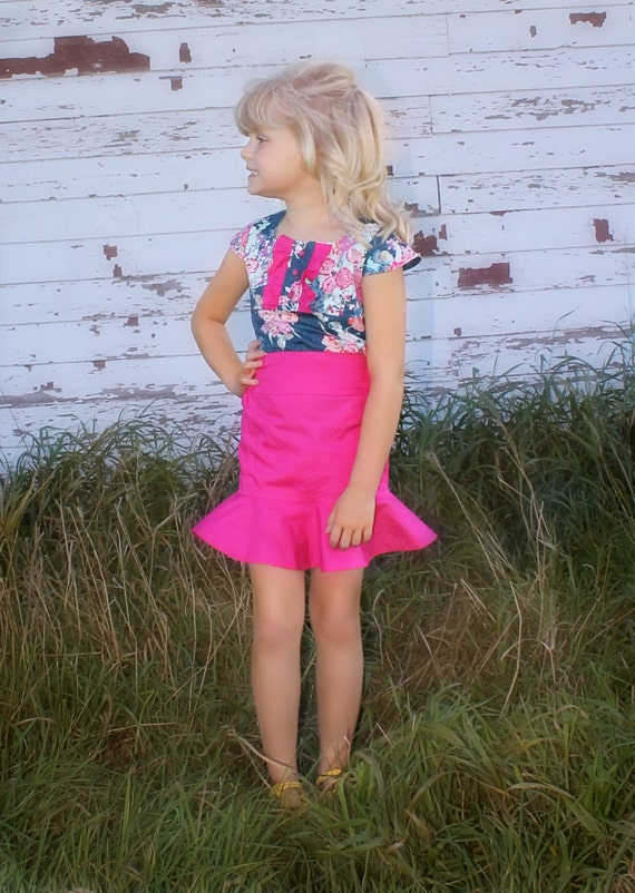 Penny's Pencil & Flounce Skirt . PDF sewing pattern for toddler girl sizes 2t - 12.