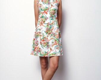 White Dress, Floral tank dress, Sleeveless Dress -SIZE: M,L,XL Luna