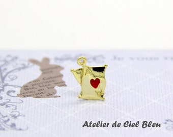 Cards Charm, Alice in Wonderland Playing Cards Charm, Gold Plated Red Heart Cards Charm, Alice Charm, Poker Card Charm, Red Heart Card