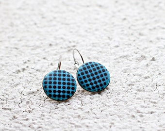 Blue earrings, Blue dangle earrings, Geometric earrings, Minimalist earrings, Modern earrings, Contemporary jewelry gift, Polka dots earring