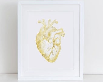 Anatomical Heart Art Print, Anatomical Heart Gold Art, Instant Download,  Printable Home Decor, Digital Art Print, Gold Foil Art Print